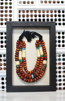 Shadowboxed Faux Amber Beads
