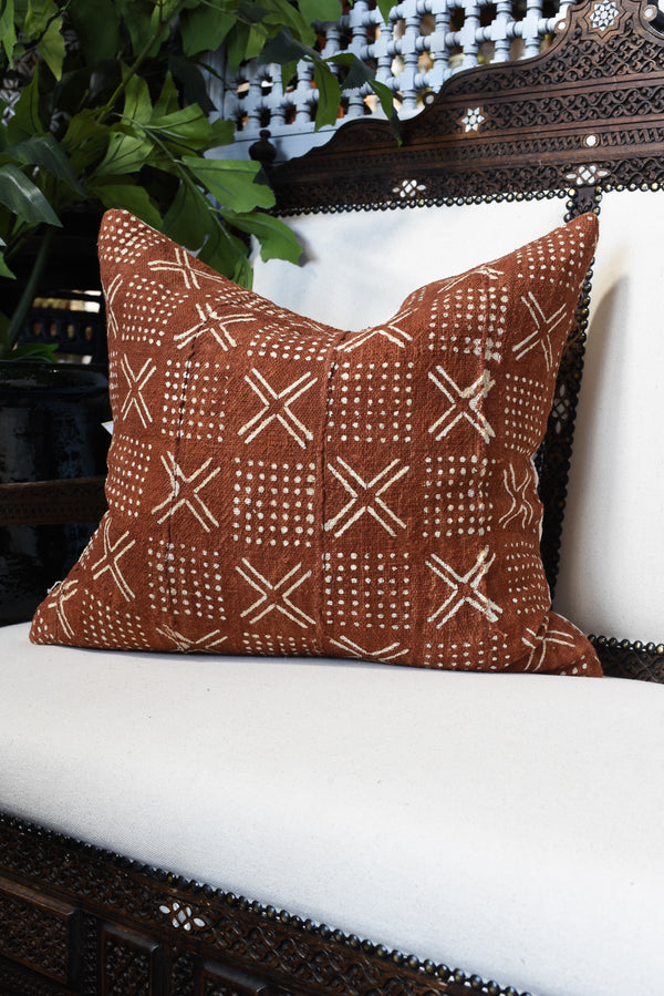 Mudcloth Square Pillow - Rust