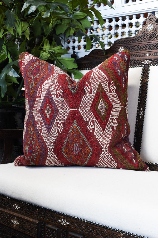 Vintage Turkish Kilim Square Pillow