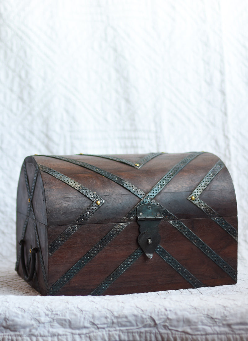 Arched Desktop Box with Metal Straps