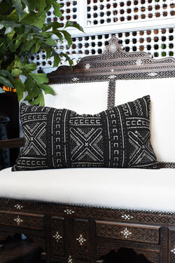 Mudcloth Lumbar Pillow - Black