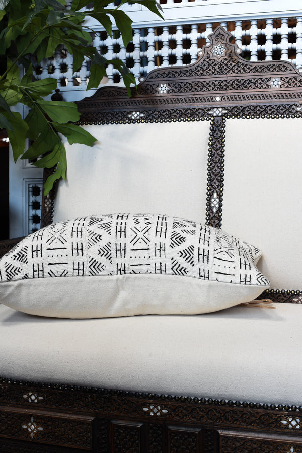 Mudcloth Lumbar Pillow - White