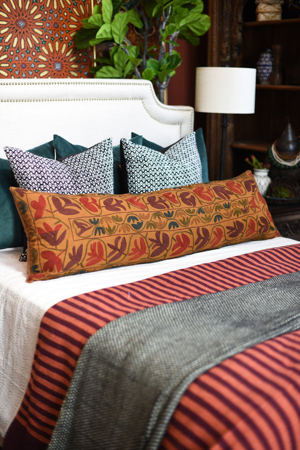 Extra Long Embroidered Lumbar Pillow
