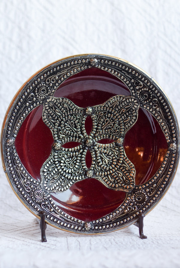 Safi Plate with Metal - Red