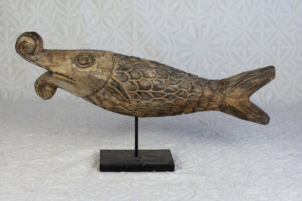 Carved Indonesian Fish on Stand