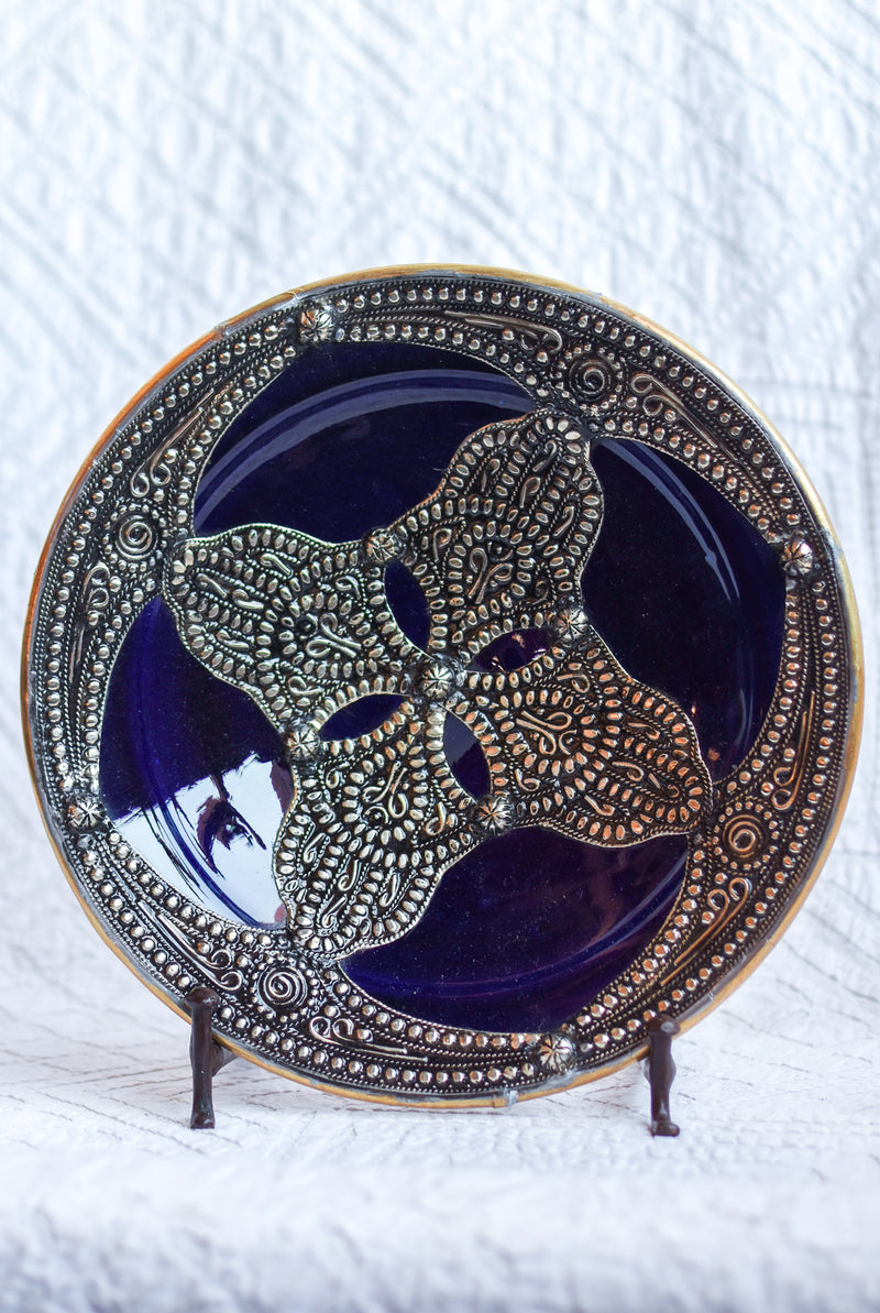 Safi Plate with Metal - Blue