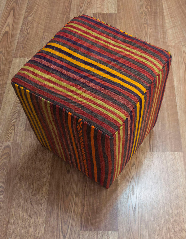 Vintage Striped Kilim Footstool