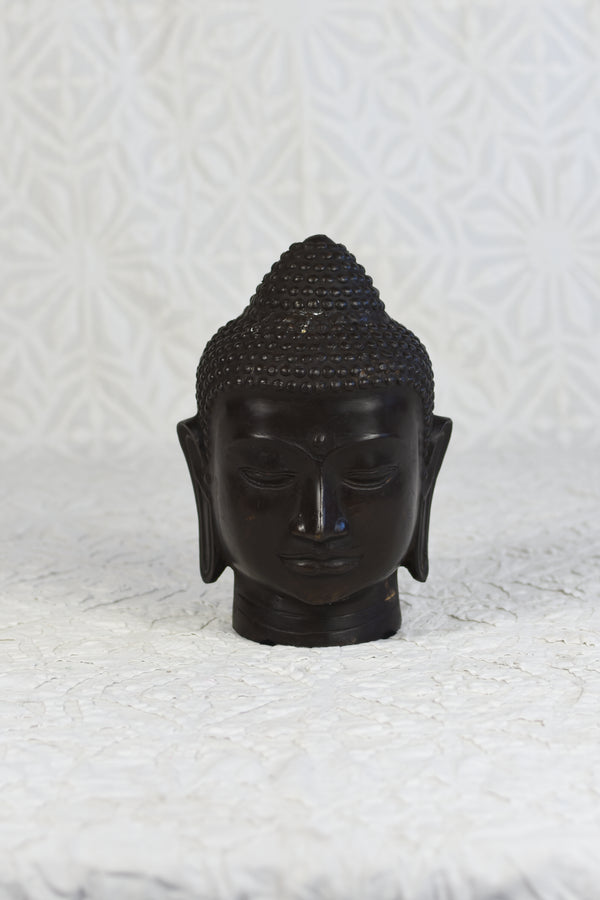 Bronze Buddha Head - Dark Bronze Finish