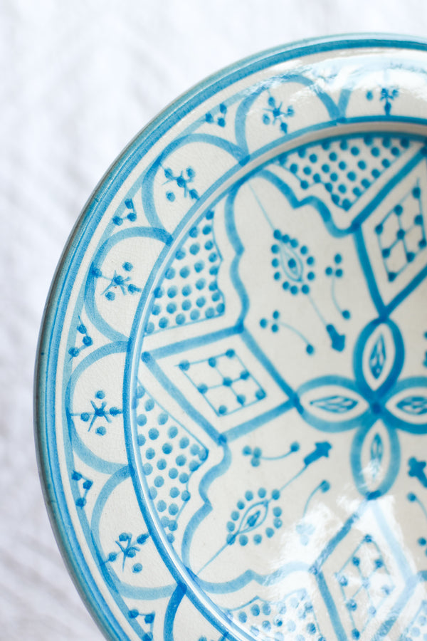 Safi Plate - White with Turquoise