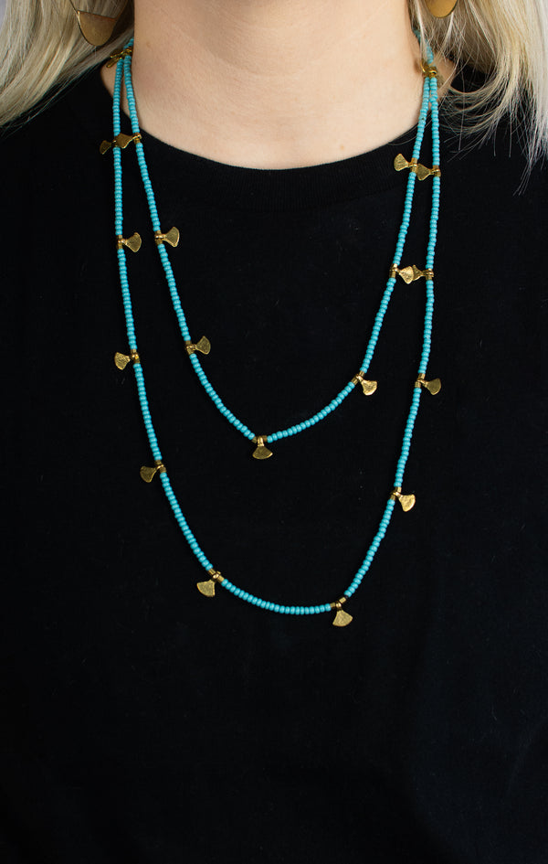 Beaded Strand Necklace - Turquoise