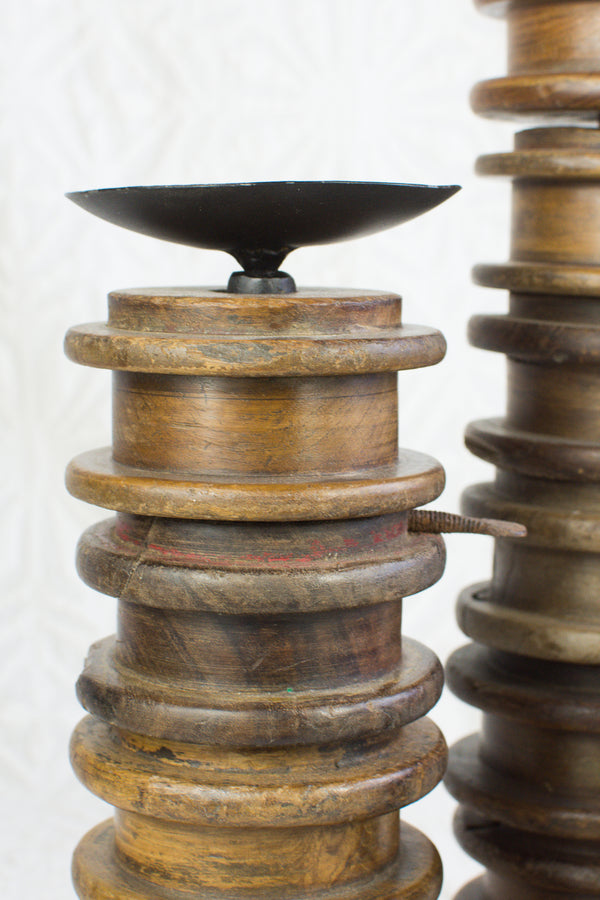 Vintage Thread Spool Candle Stand