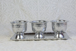 Hammered Bowl & Tray Set