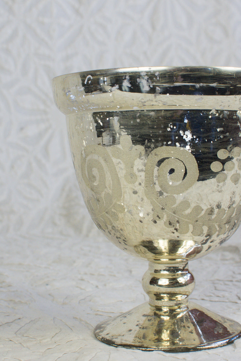 Mercury Glass Etched Compote