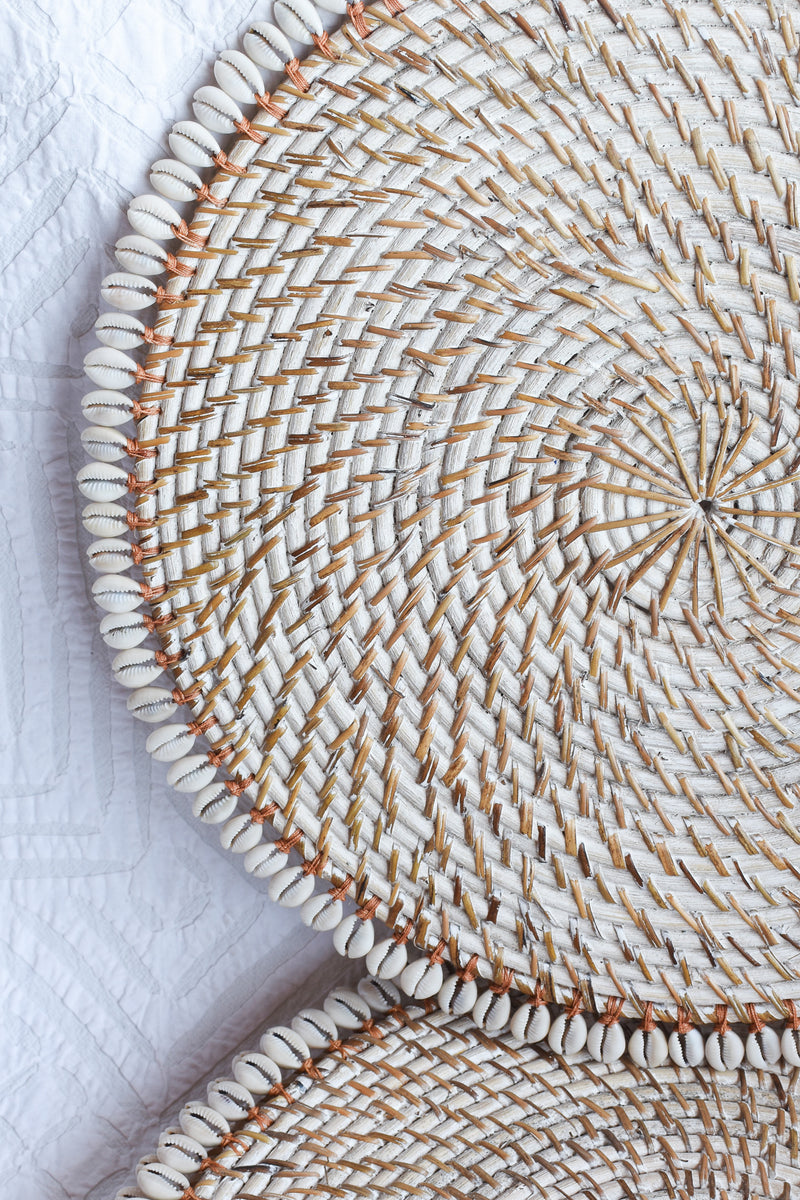 Lombok Basket Woven Placemat - Cowrie Shell Edging