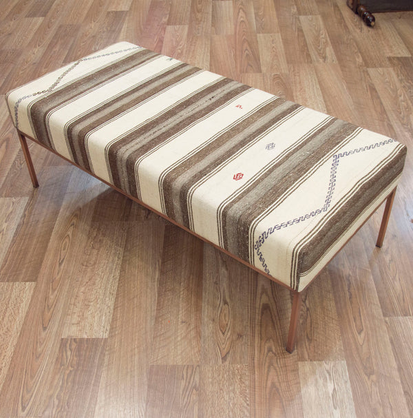 Vintage Neutral Striped Kilim Coffee Table Ottoman