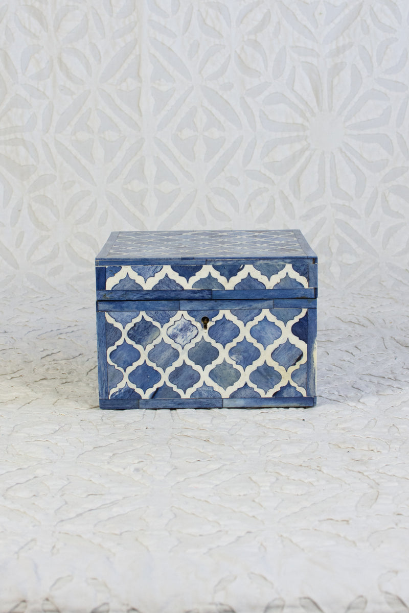 Square Bone Inlay Box - Blue