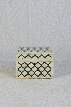 Square Bone Inlay Box - Black