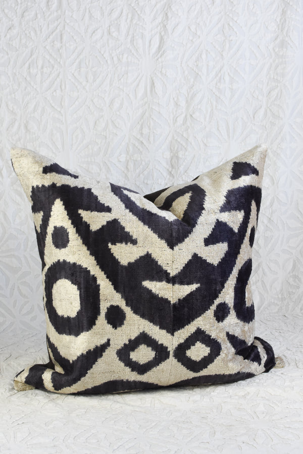 Silk Velvet Ikat Pillow - Black and White