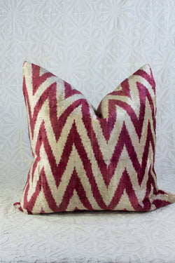 Silk Velvet Ikat Pillow - Red and White
