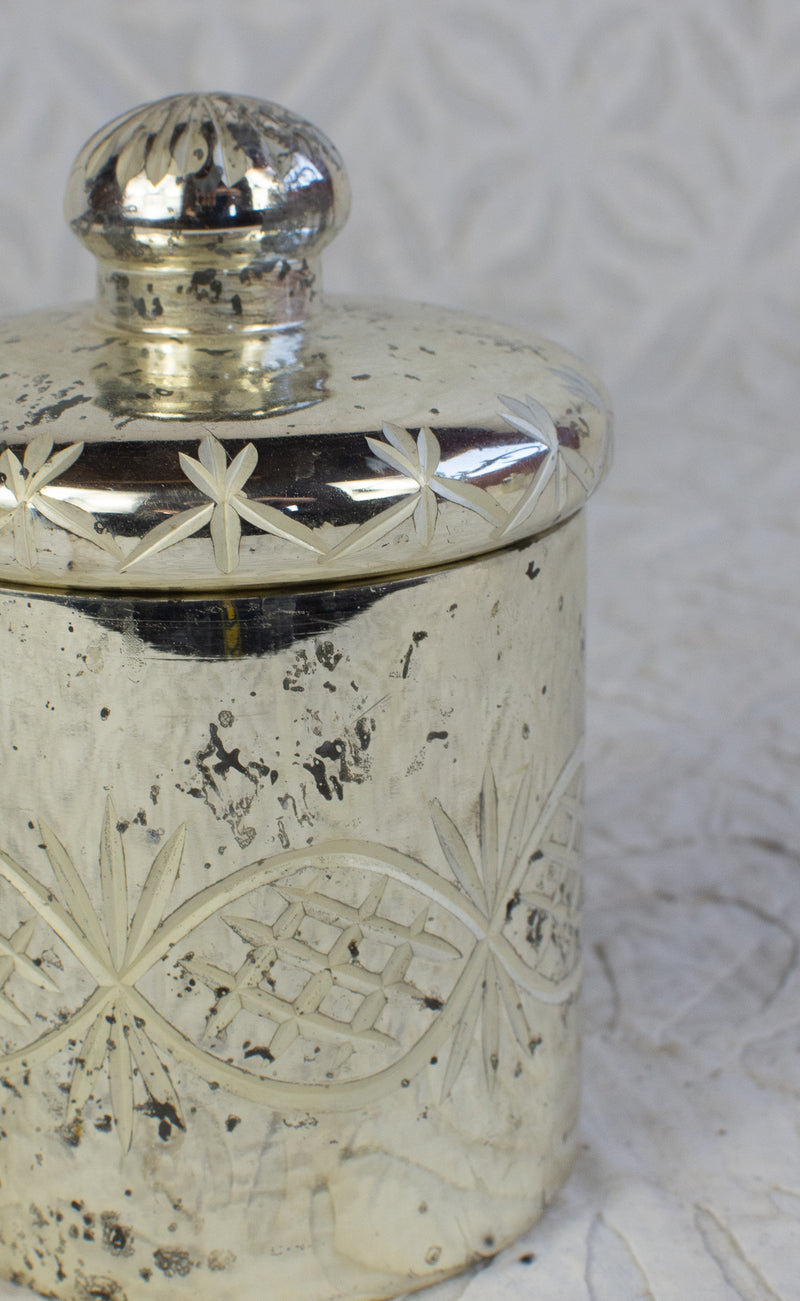 Mercury Glass Etched Canister