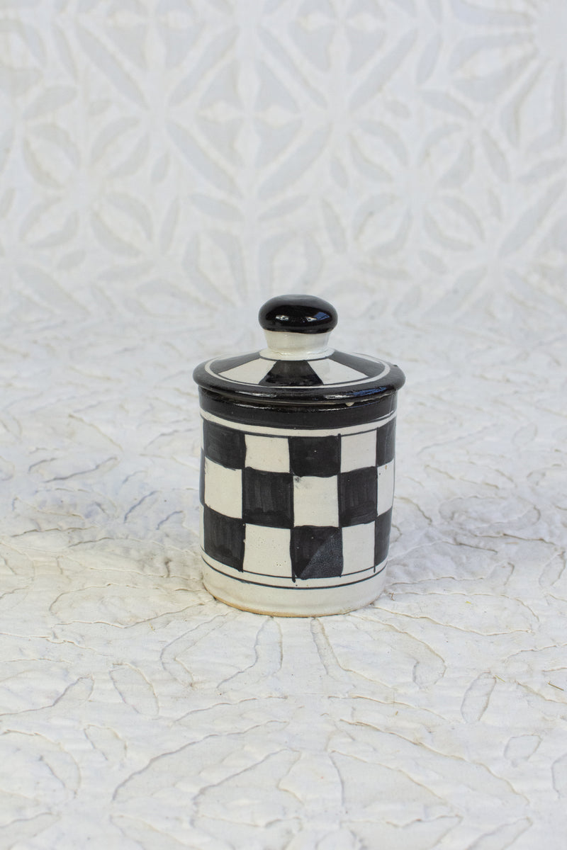 XS Moroccan Painted Canister - Black