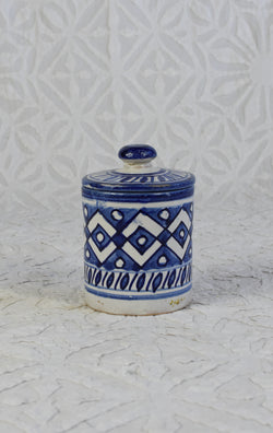 Small Moroccan Painted Canister - Blue