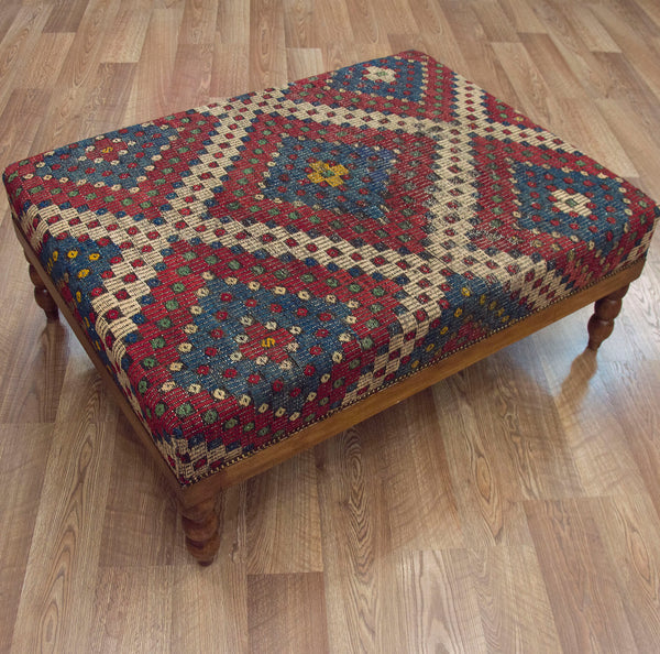Vintage Turkish Zilli Coffee Table Ottoman