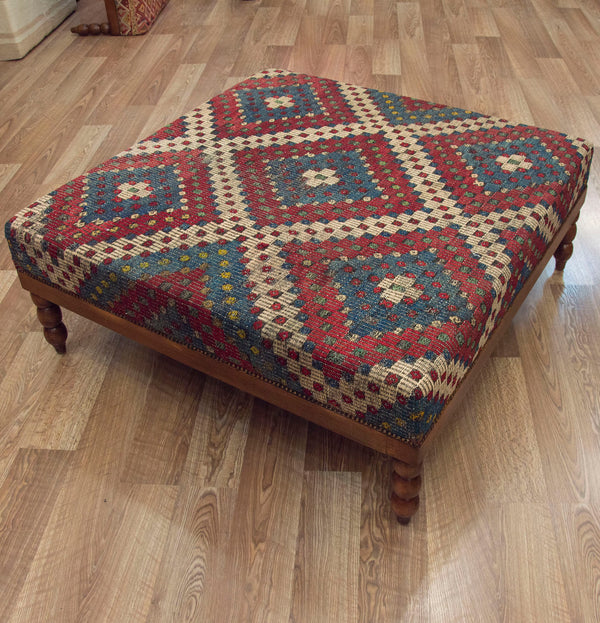 Vintage Zilli Kilim Covered Coffee Table Ottoman ETA November 2020