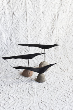Wooden Bird on stand with Stone Base