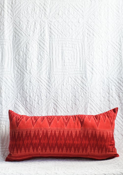Balinese Ikat Pillow - Red Geometric