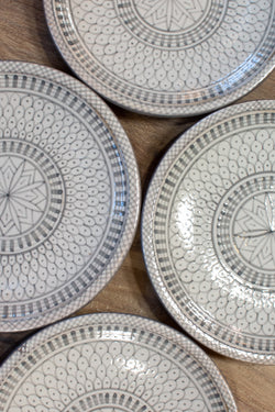 Moroccan Hand-Painted Plate - Gray & White