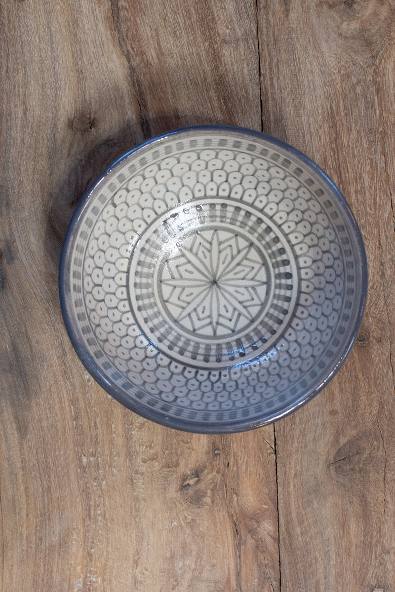 Moroccan Hand-Painted Bowl - Gray & White