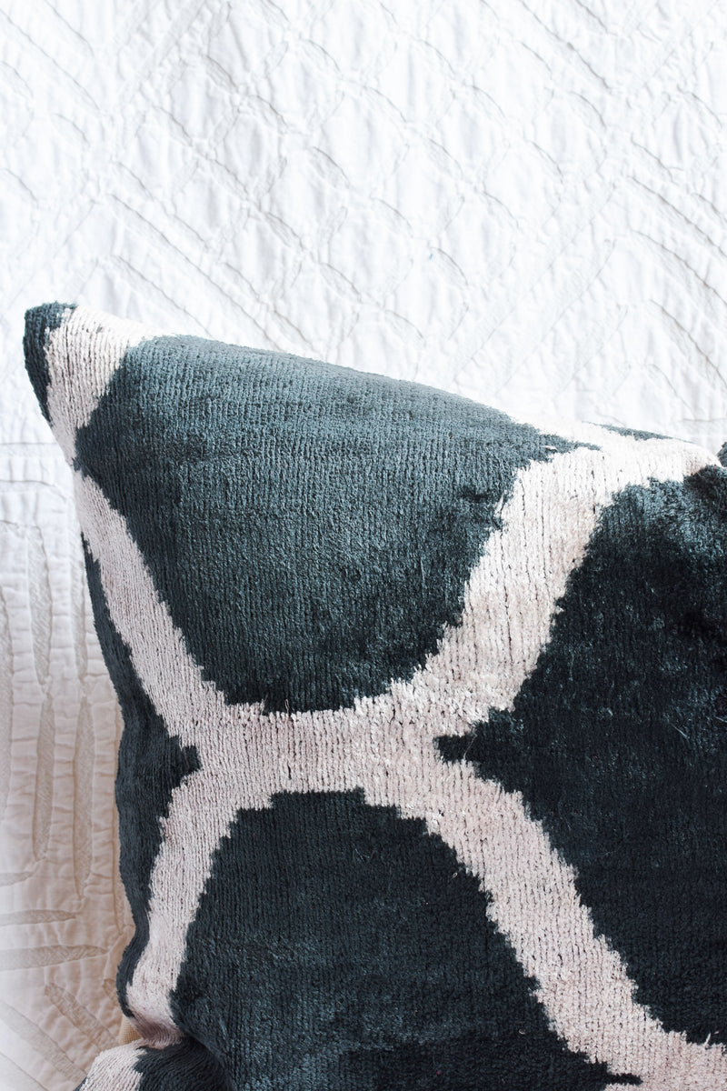 Silk Velvet Ikat Pillow - Graphic Black and White