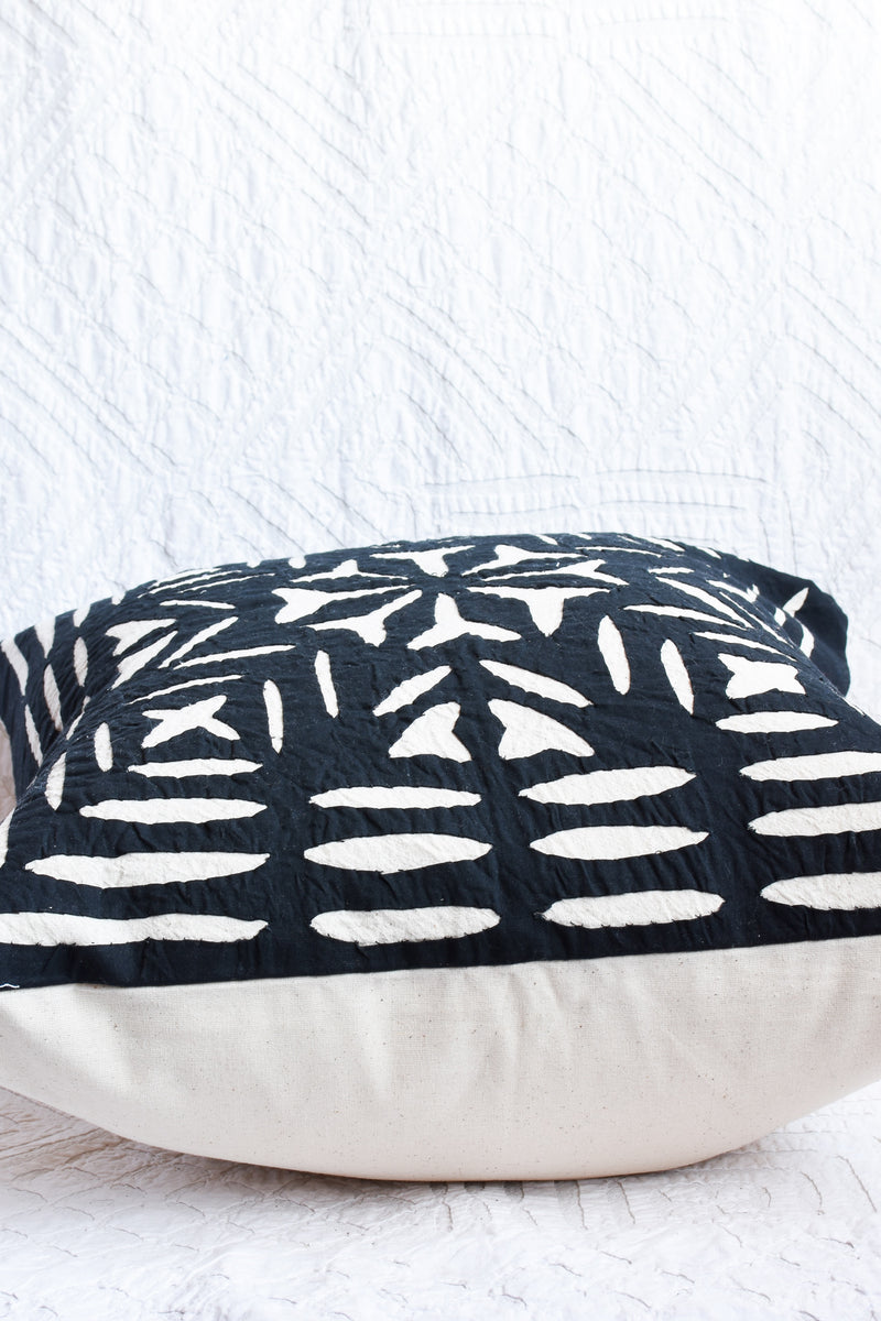 Hand Stitched Appliqué Pillow - Black and White