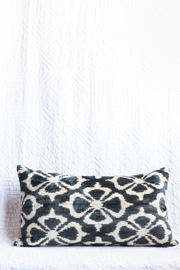 Silk Velvet Ikat Pillow - Floral Black and White