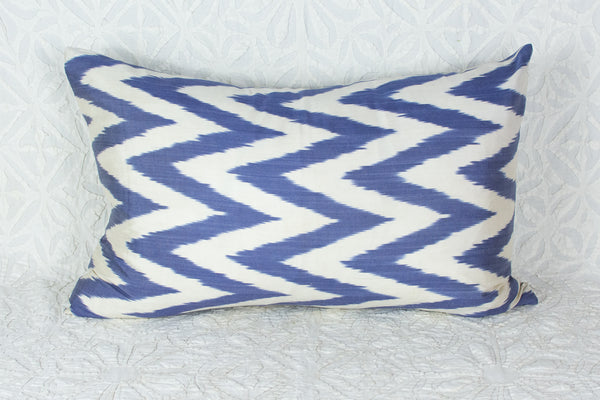 Silk Ikat Lumbar Pillow in Zig Zag