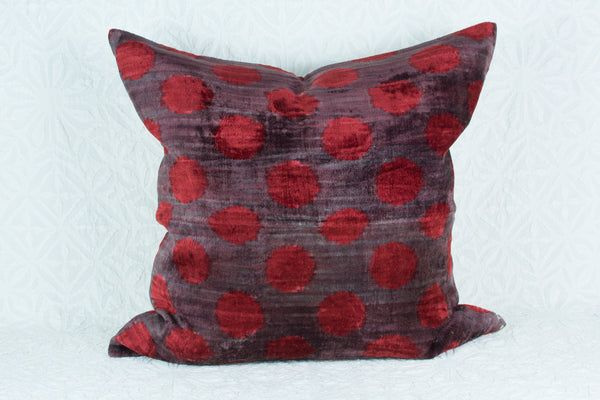 Silk Ikat Pillow - Polka Dot