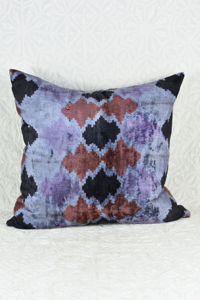 Silk Velvet Ikat Pillow in deep Purple and Indigo