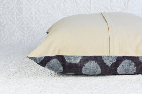 Deep Blue Polka Dot Silk Velvet Ikat Pillow