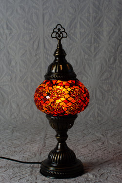 Ruby and Gold Mosaic Table Lamp