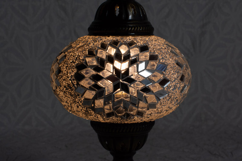 Silver and White Mosaic Table Lamp