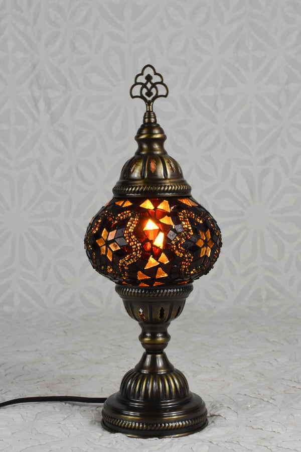 Gold and Red Mosaic Table Lamp Small