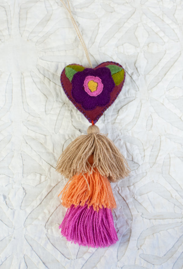 Embroidered Heart Tassel from Chiapas