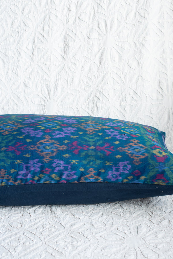 Extra Long Vivid Teal Indonesian Ikat Pillow