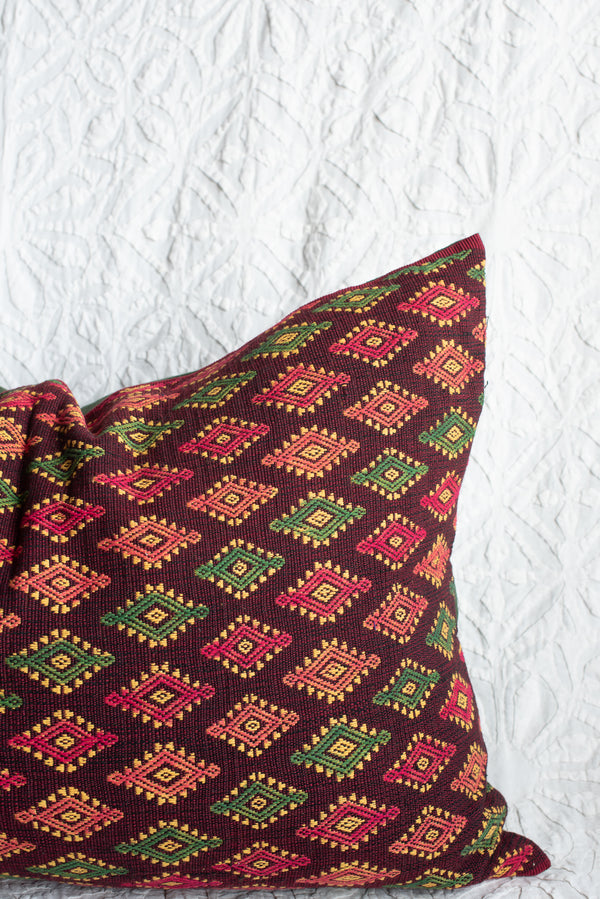 Handwoven Indonesian Ikat Lumbar Pillow