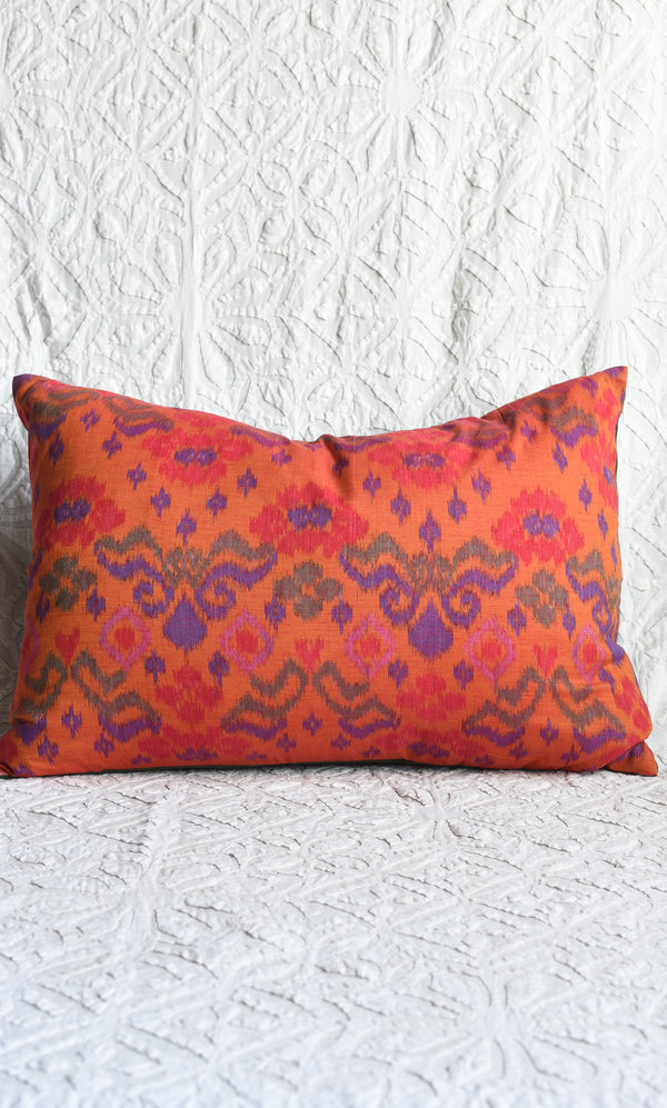 Handwoven Indonesian Ikat Pillow in Vivid Orange