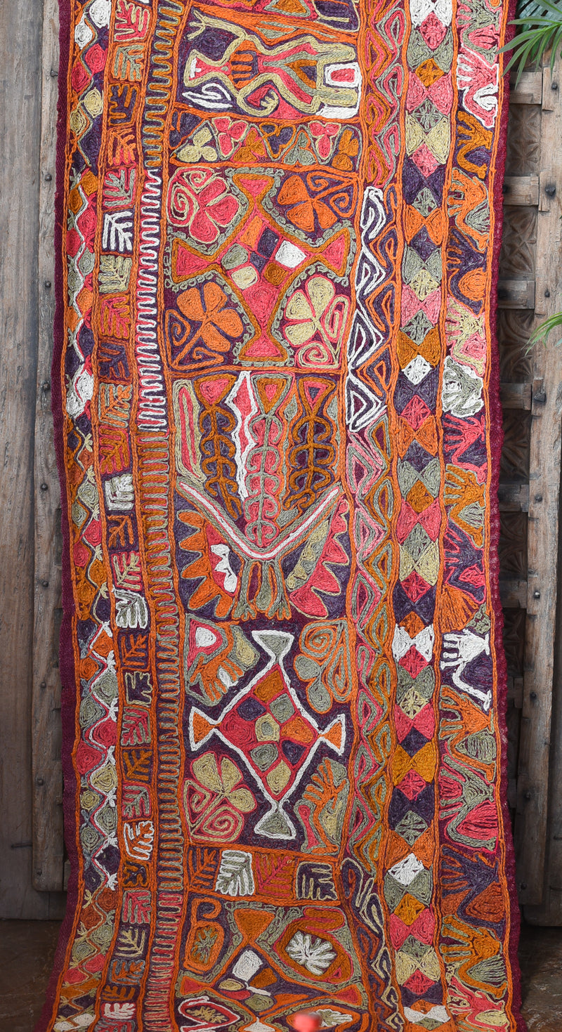 Vintage Iraqui Kilim Runner with Animals and Bright Wild Color