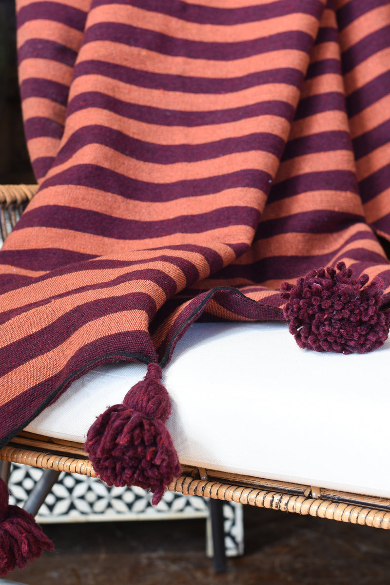 Striped Moroccan Pompom Throw Blanket