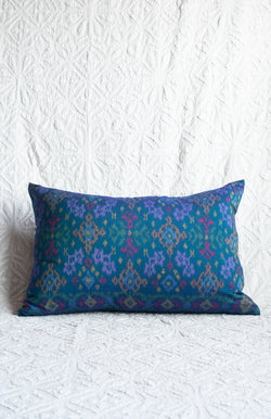 Vivid Teal Indonesian Ikat Pillow