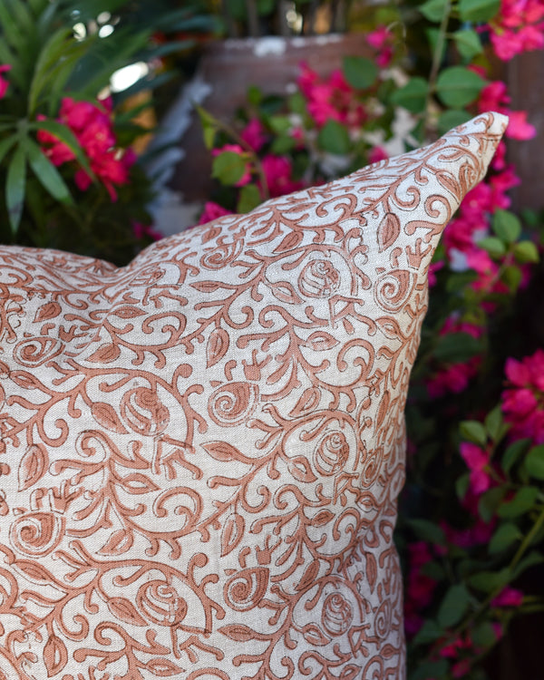"Rose Blockprint 24"" Linen Pillow"